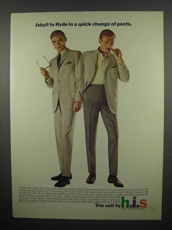 1965 h.i.s. Trio Suit Ad - Jeckyll to Hyde Quick Change