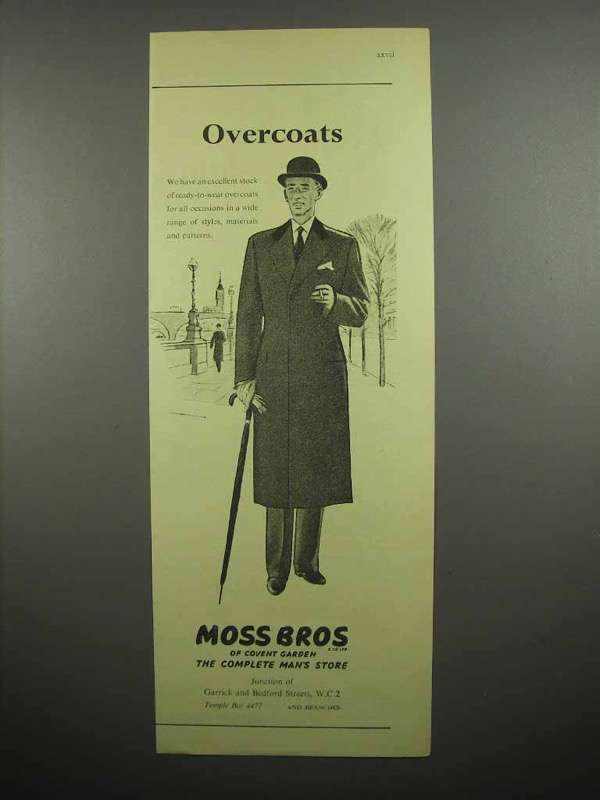 1955 Moss Bros Clothes Ad - Overcoats