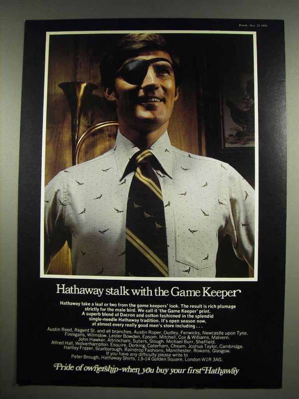 1974 Hathaway Game Keeper Print Shirt Ad