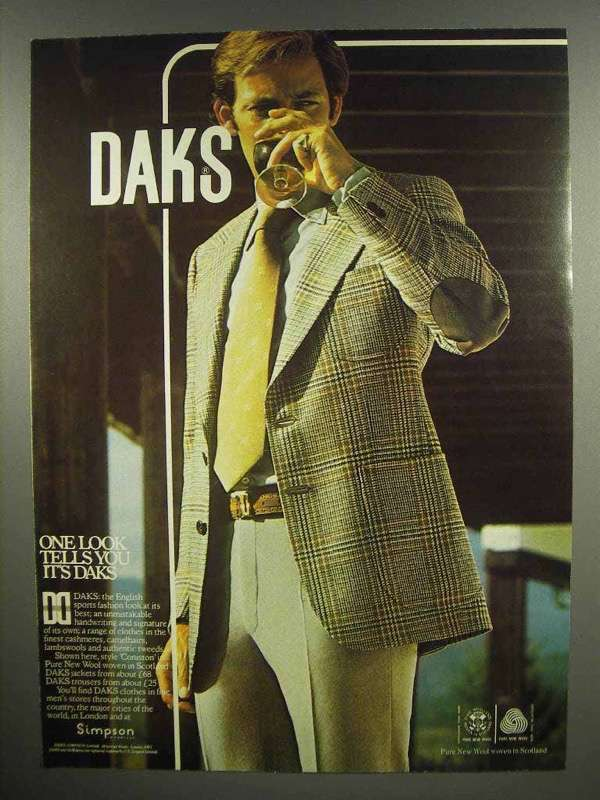 1978 Daks Clothes Ad - One Look Tells You