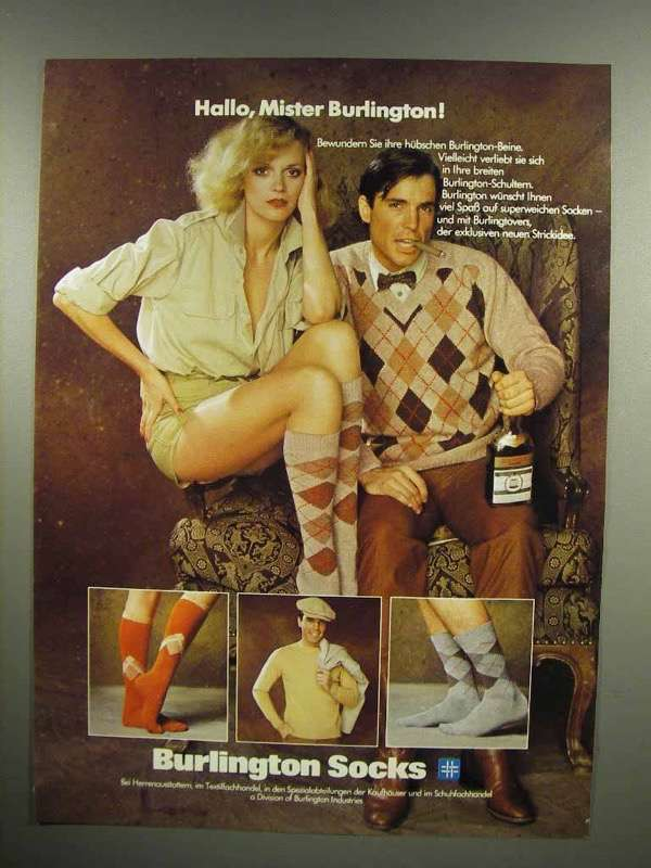 1979 Burlington Socks Ad - in German - Hallo, Mister Burlington