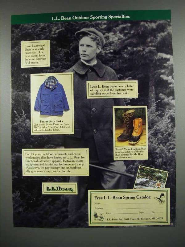 1987 L.L. Bean Clothing Ad - Outdoor Sporting