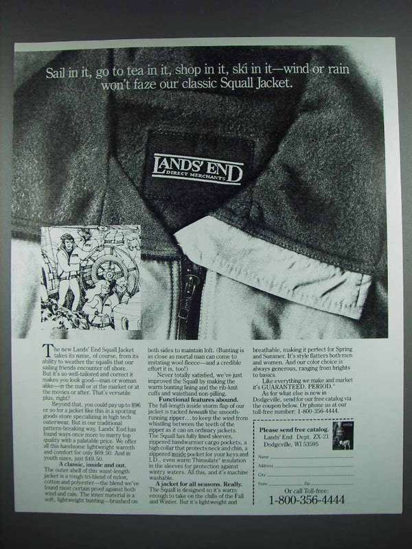 1988 Lands End Squall Jacket Ad - Sail in It
