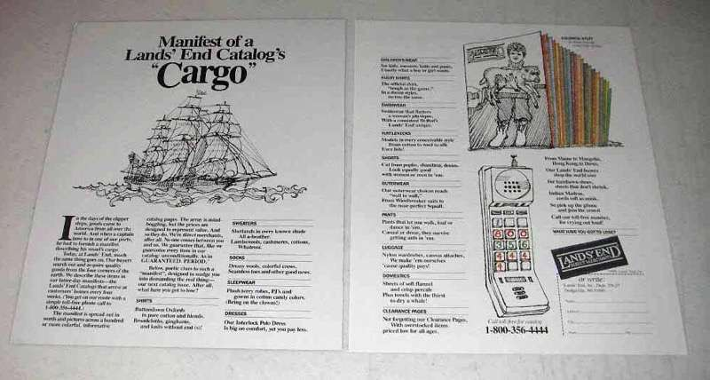 1990 Lands End Fashion Ad - Manifest of Cargo