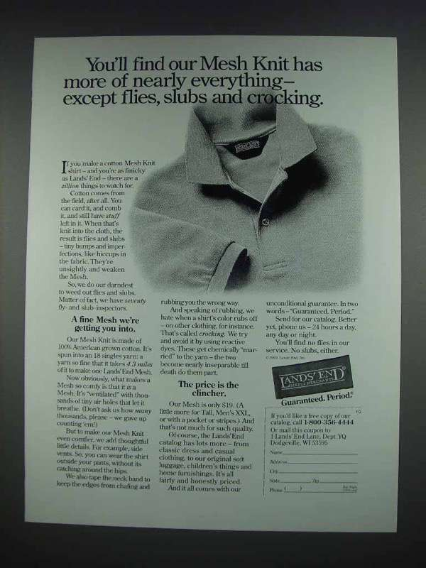 1993 Lands End Mesh Knit Shirt Ad - More Everything