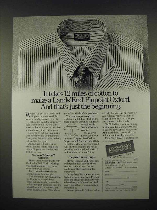 1994 Lands End Pinpoint Oxford Shirt Ad - 12 Miles