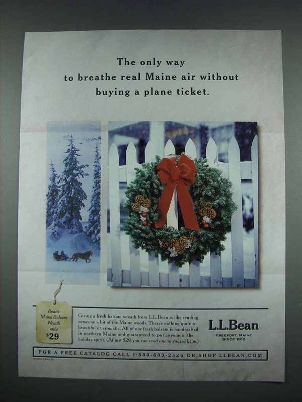 2003 L.L. Bean Christmas Wreath Ad - Breath Maine Air