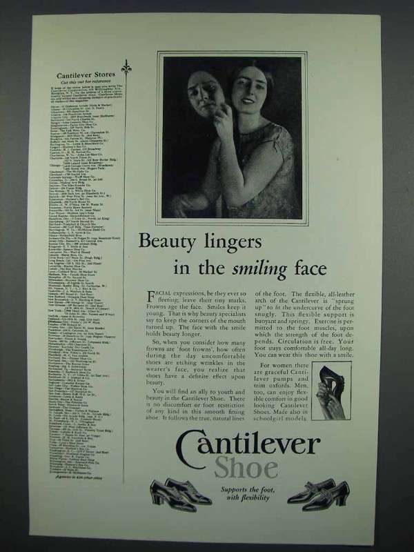 1926 Cantilever Shoe Ad - Beauty Lingers Smiling Face