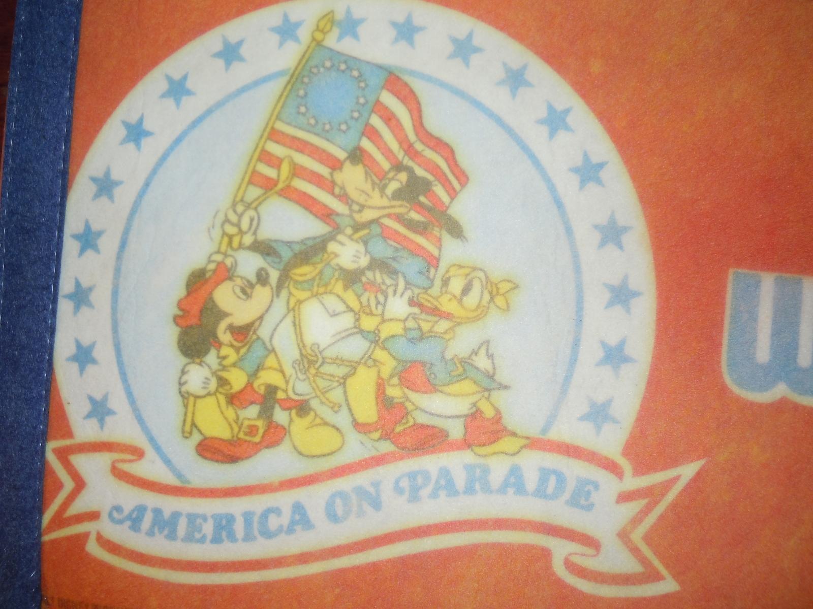 Vintage Walt Disney World America on Parade Felt Pennant