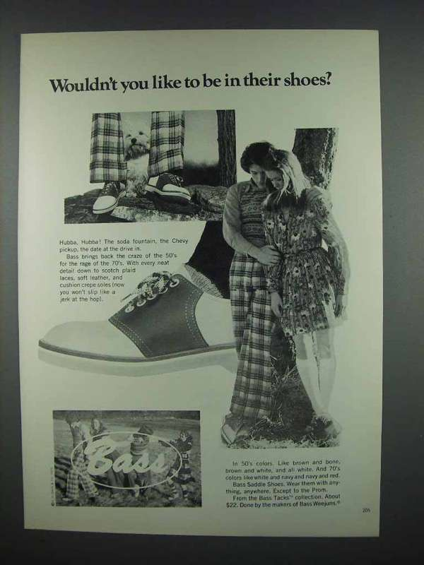 1972 Bass Ad - Wouldn't You Like To Be In Their Shoes?