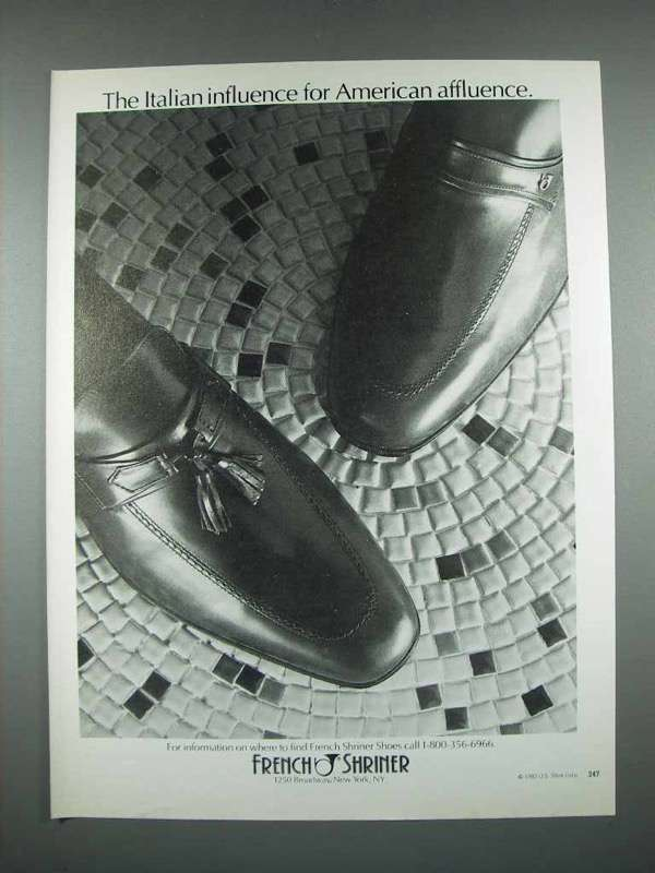 1982 French Shriner Shoes Ad - The Italian Influence