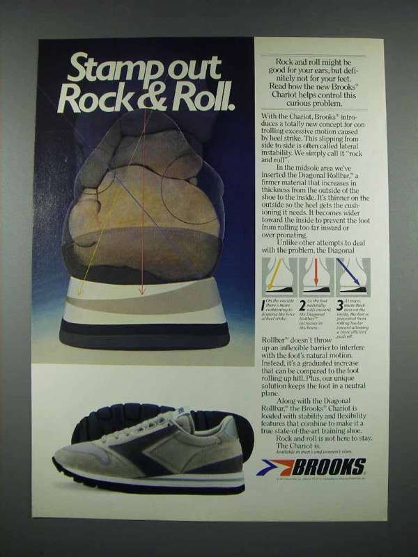 1983 Brooks Chariot Shoes Ad - Stamp Out Rock & Roll