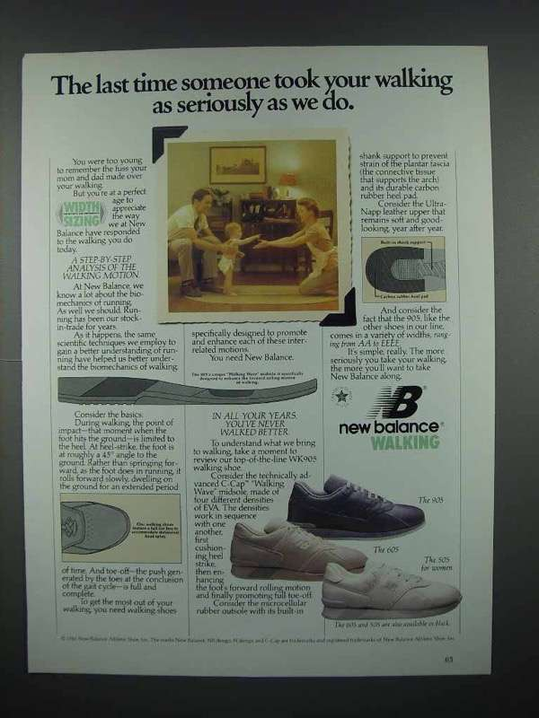 1987 New Balance Walking Shoes Ad - 905, 605, 505
