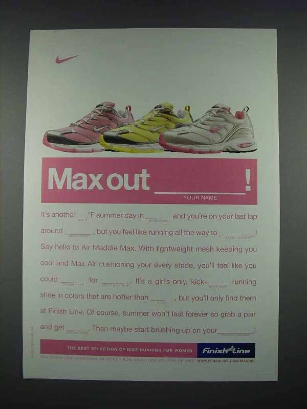 2004 Finish Line Nike Air Maddie Max Shoes Ad