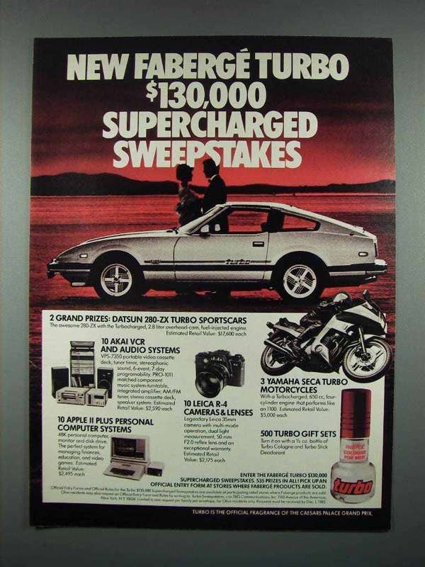 1982 Faberge Turbo Cologne Ad - Datsun 280-ZX Turbo - $14.99
