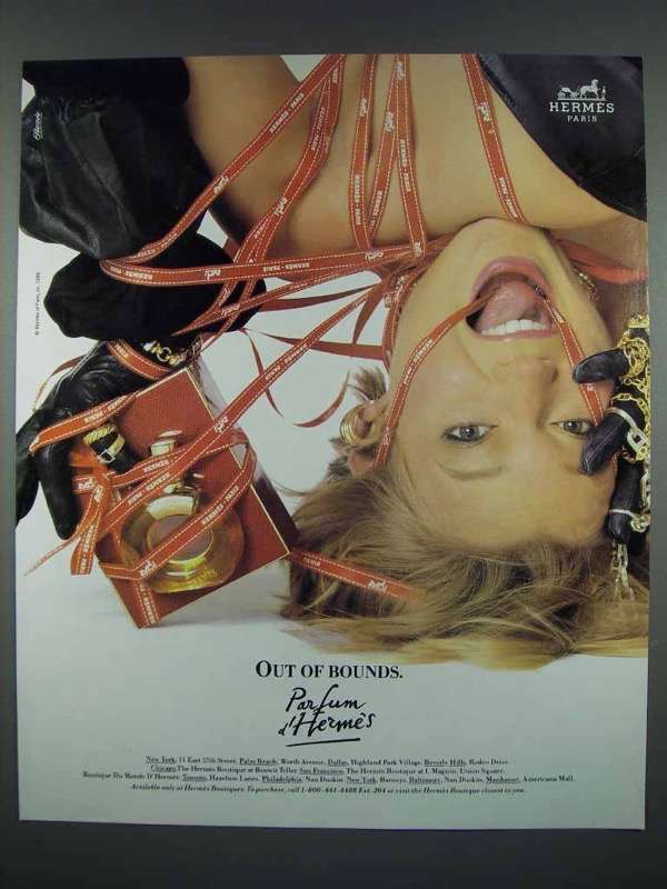 1987 Hermes Parfum d' Hermes Perfume Ad - Out of Bounds