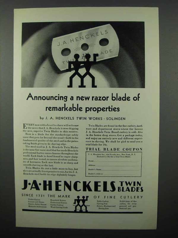 1929 J.A. Henckels Razor Twin Blade Ad - Remarkable