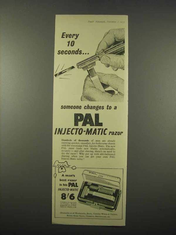 1955 Pal Injecto-Matic Razor Ad - Every 10 Seconds