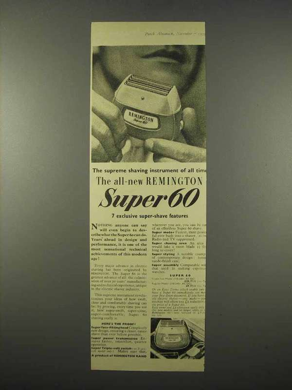 1955 Remington Super 60 Electric Shaver Ad