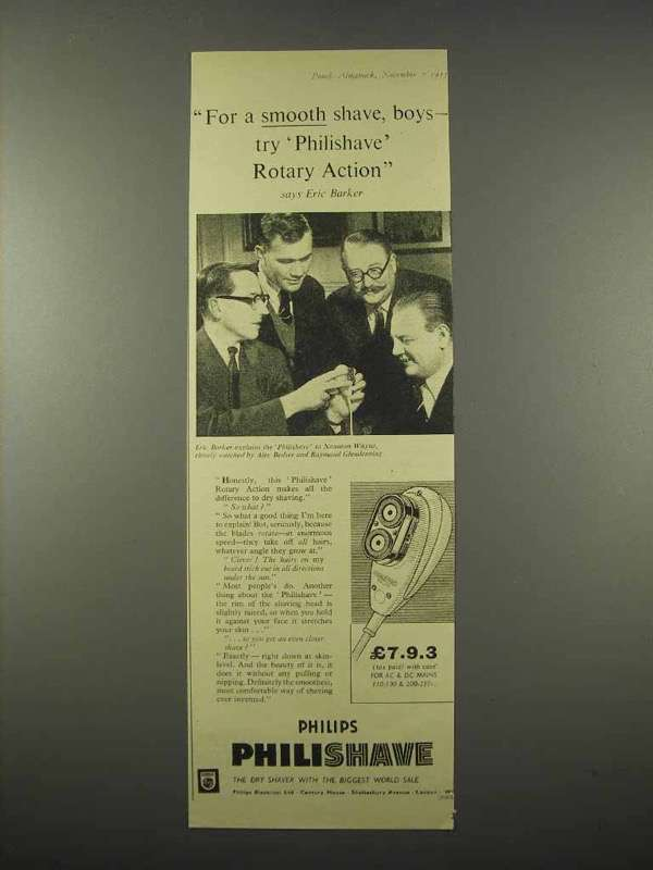 1955 Philips Philishave Electric Shaver Ad, Eric Barker