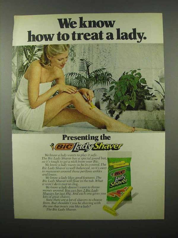 1978 Bic Lady Shaver Razor Ad - How to Treat a Lady
