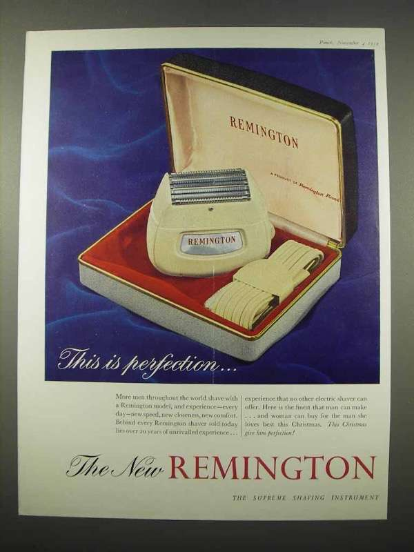 1959 Remington Electric Shaver Ad - This is Perfection