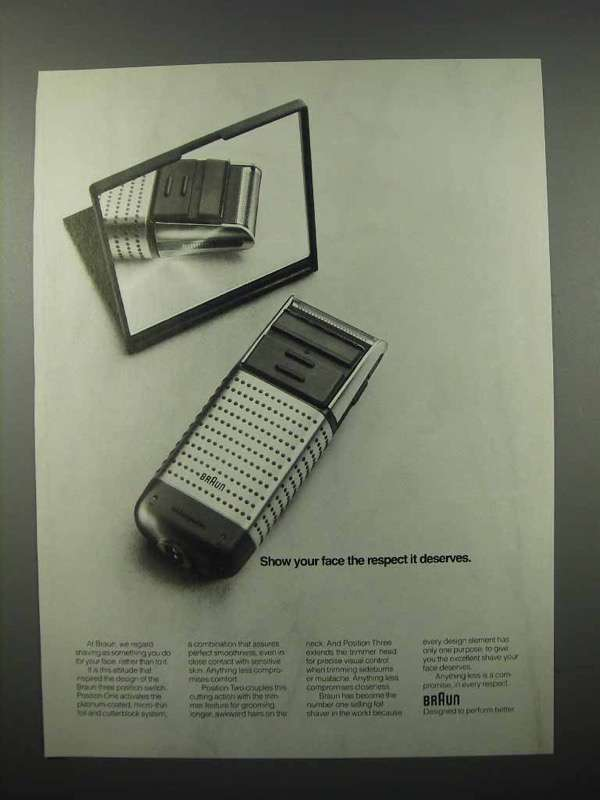 1989 Braun Electric Shaver Ad - Show Your Face Respect