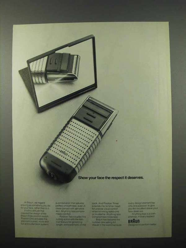 1990 Braun Electric Shaver Ad - Show Your Face Respect