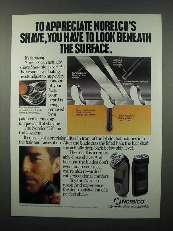 1992 Norelco Electric Shaver Ad - Look Beneath Surface