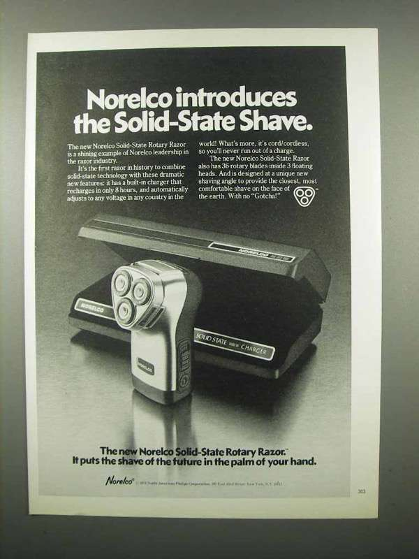 1978 Norelco Solid-State Rotary Razor Ad