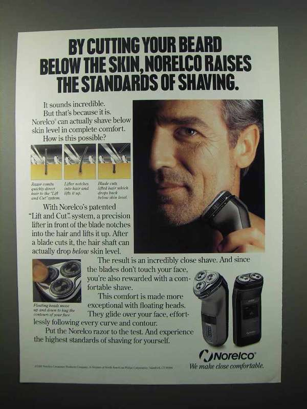 1992 Norelco Electric Shaver Ad - Cutting Below Skin