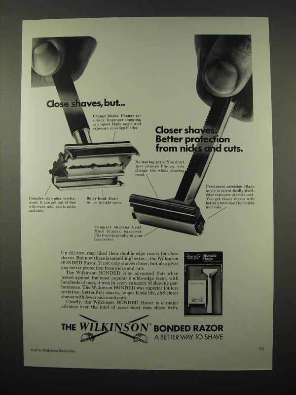 1973 Wilkinson Sword Bonded Blade Razor Ad - Close Shaves