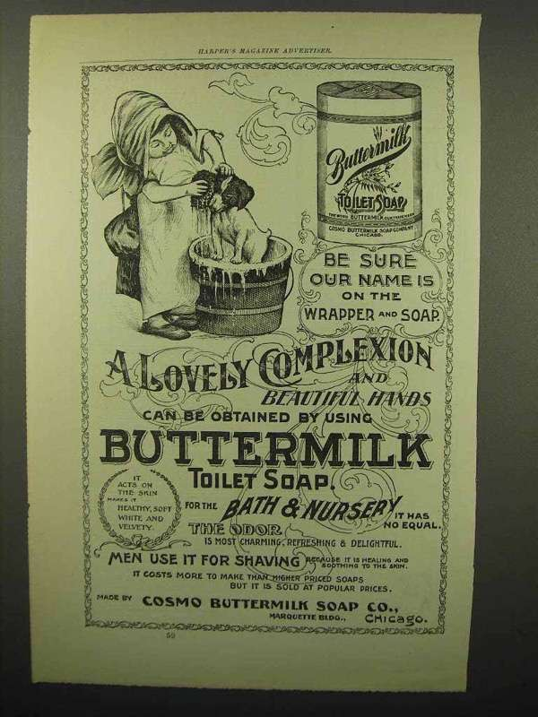 1897 Buttermilk Toilet Soap Ad - Name on the Wrapper