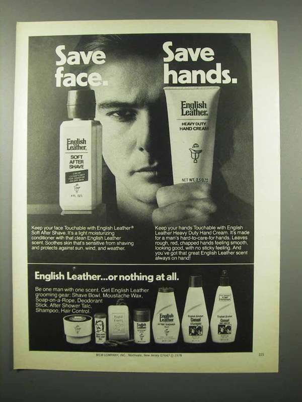 1978 English Leather Soft After Shave, Hand Cream Ad
