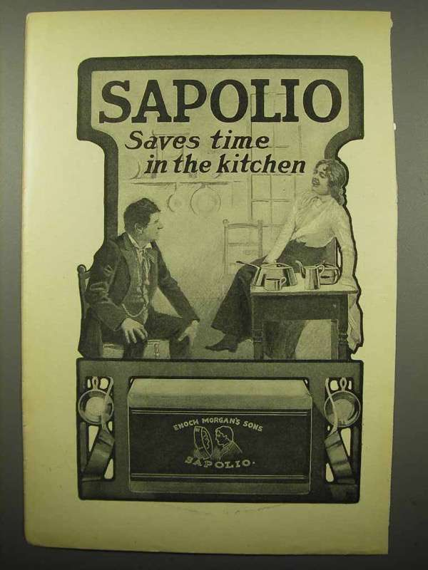 1903 Sapolio Soap Ad - Saves Time in the Kitchen