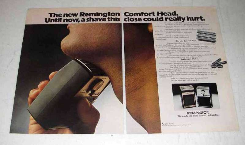 1972 Remington Comfort Head Electric Shaver Ad