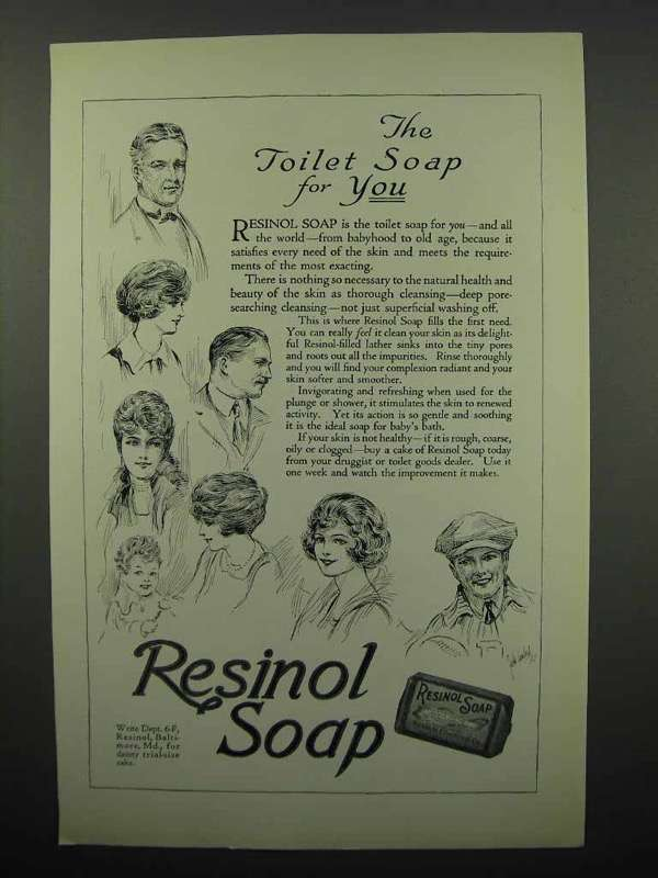 1923 Resinol Soap Ad - The Toilet Soap For You
