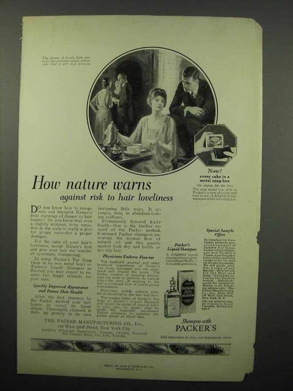 1923 Packer's Shampoo Ad - How Nature Warns