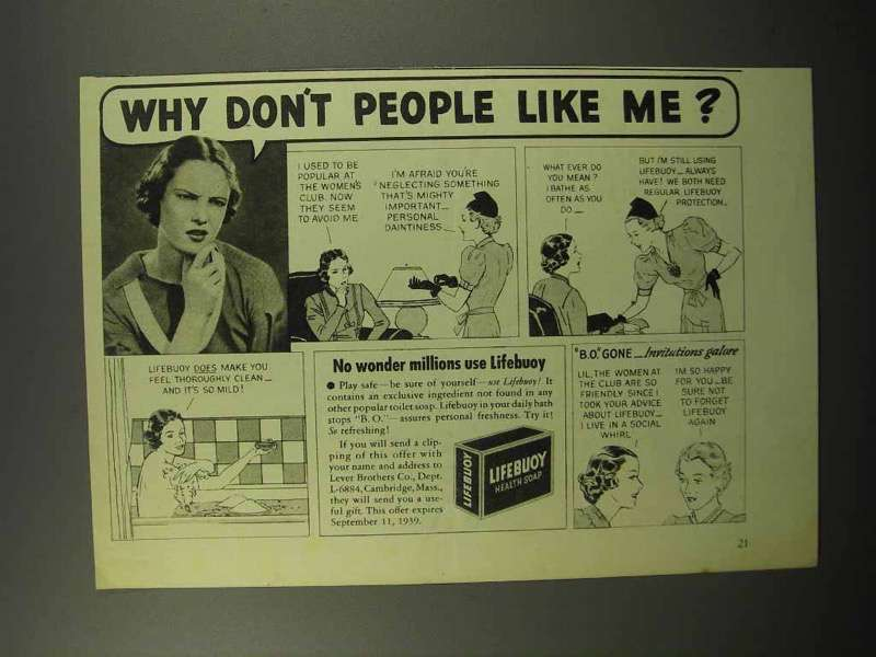 1939 Lifebuoy Soap Ad - Why Don't People Like Me?