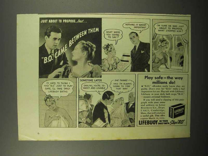 1939 Lifebuoy Soap Ad - B.O. Came Between Them