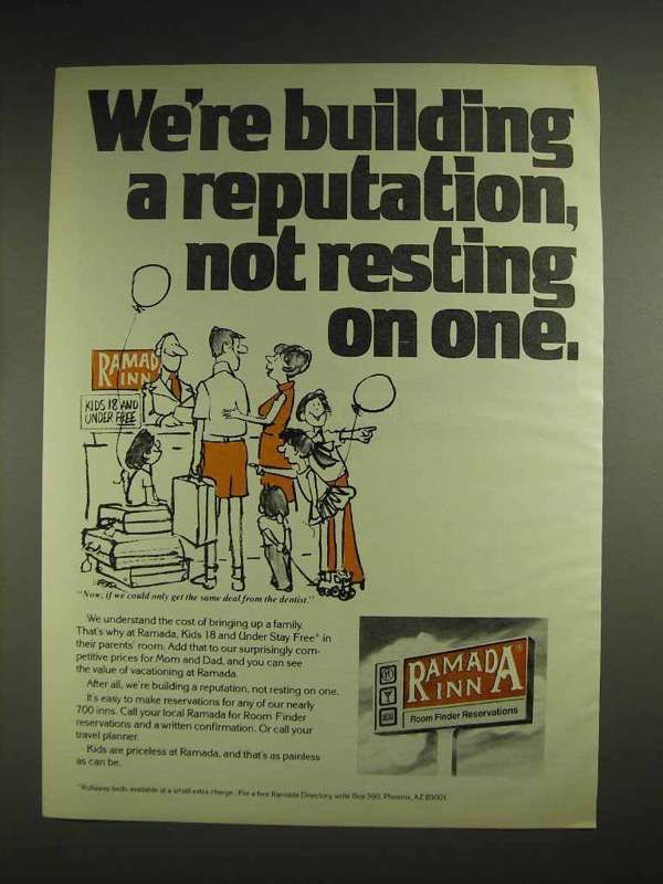 1978 Ramada Inn Motel Ad - We're Building a Reputation, Not Resting On One