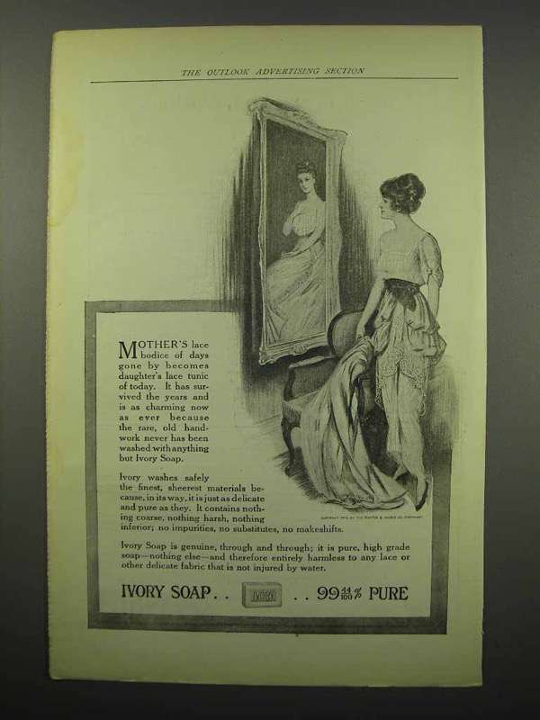 1914 Ivory Soap Ad - Mother's Lace Bodice