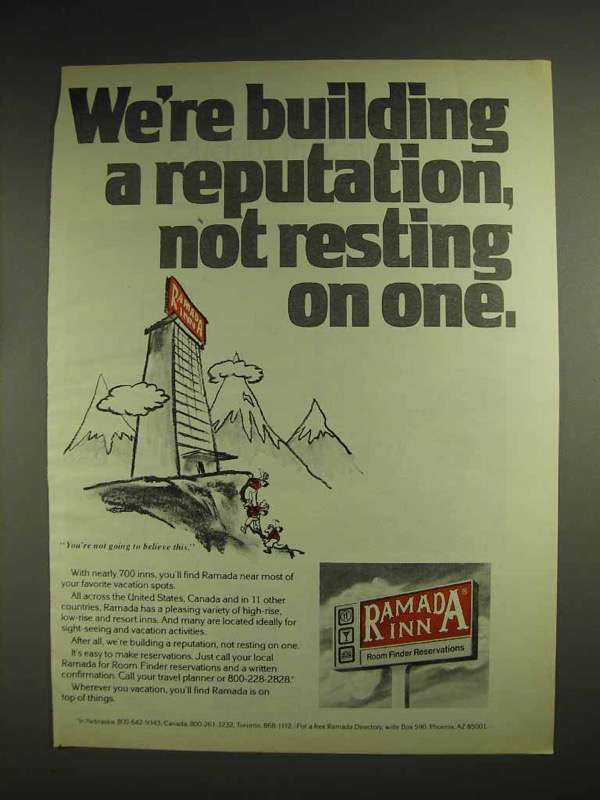 1978 Ramada Inn Motel Ad - We're Building a Reputation