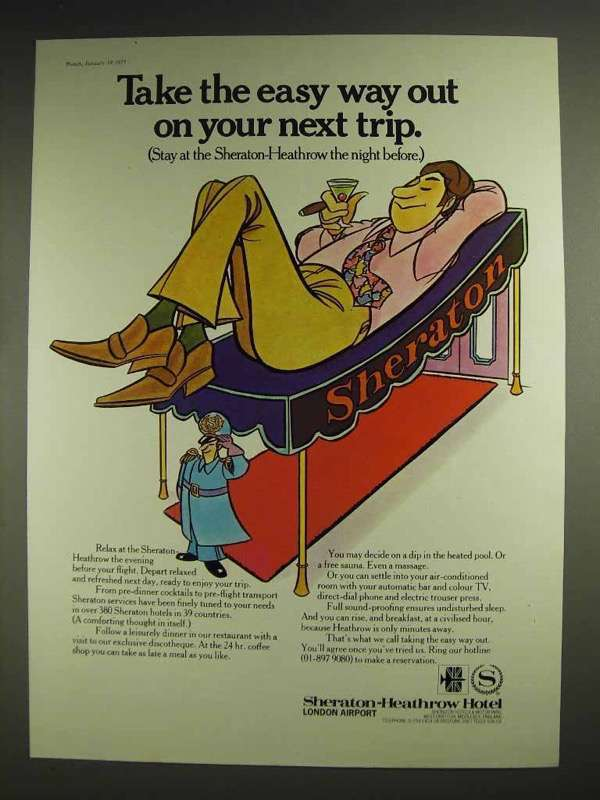 1977 Sheraton-Heathrow Hotel Ad - Easy Way Out