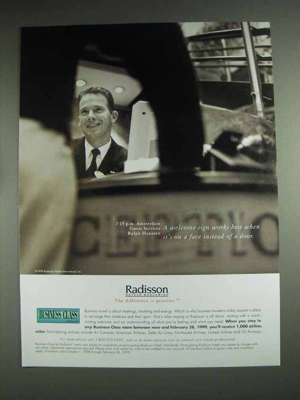 1998 Radisson Hotels Ad - Welcome Sign on a Face