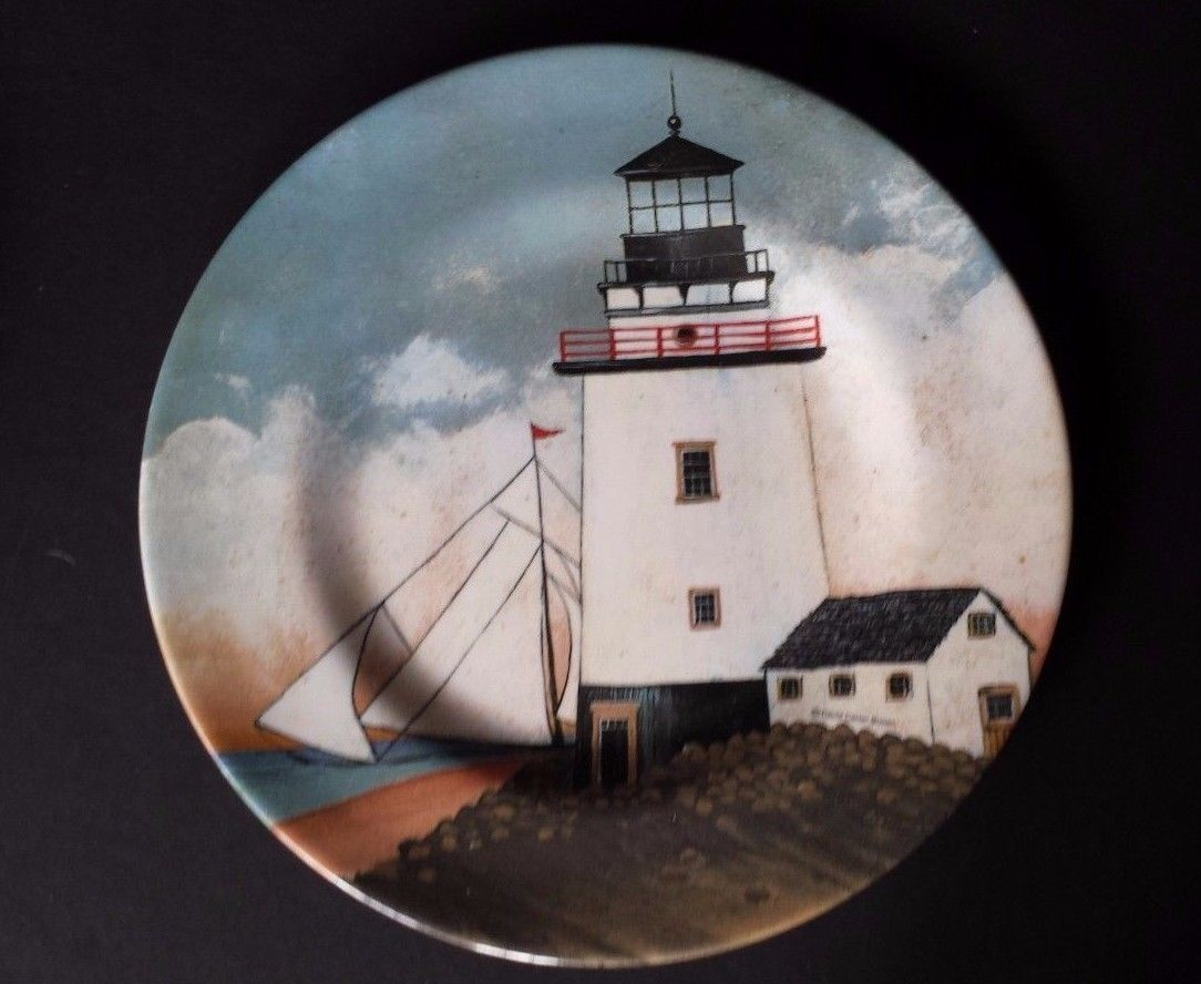 "David Carter Lighthouse 8"" Plate By the Sea Sakura Evolution Resin Set of 4"