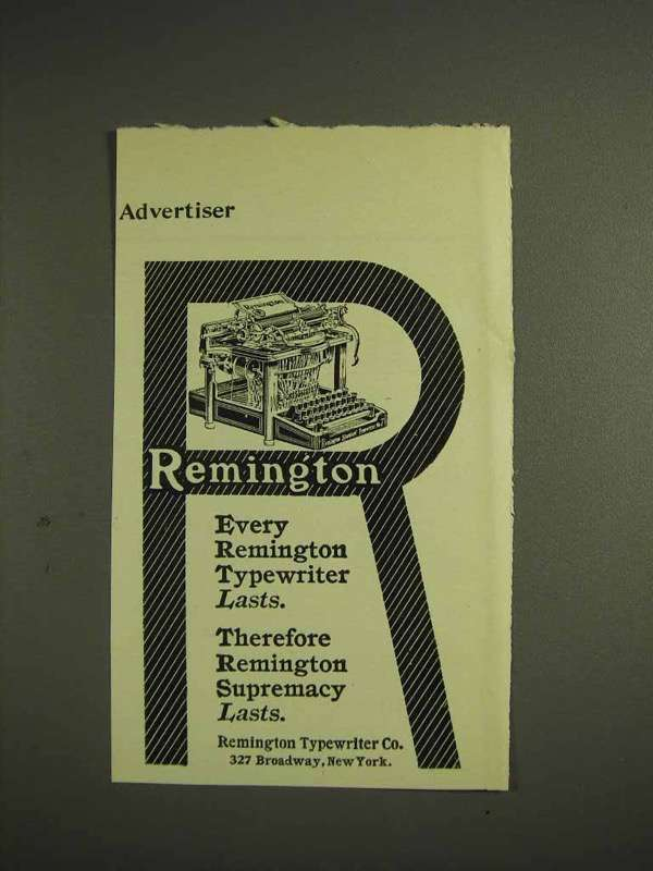 1904 Remington Typewriter Ad - Every Remington Lasts