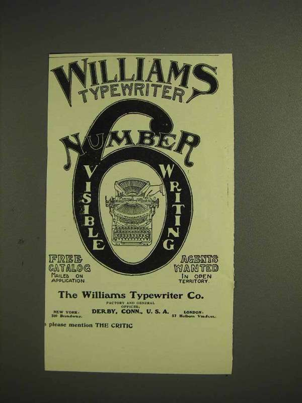 1904 Williams Number 6 Typewriter Ad - Visible Writing