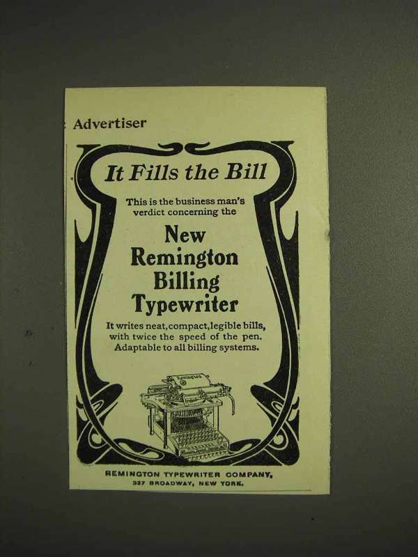 1904 Remington Billing Typewriter Ad, It Fills the Bill