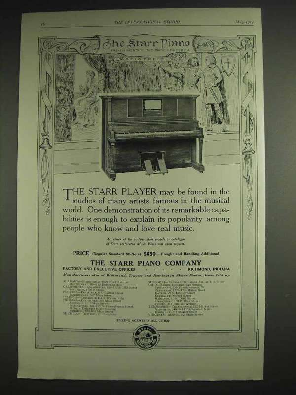 1914 Starr Player Piano Ad - In Studios of Artists